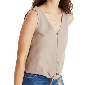 Madewell Button Front Tie Tank Telluride Stone XS